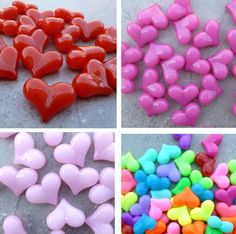 17x22mm Jelly Heart Beads  -  Chunky Necklaces - set of 25 - Red, pink, hot pink, or neon mix