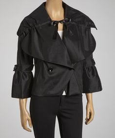Take a look at this Black Double-Breasted Bell-Sleeve Jacket by Samuel Dong on #zulily today!