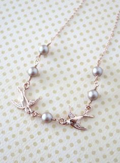 Rose Gold Love Birds and Pearls necklace - rose gold, Swarovski pearl, Romance Sweet Love necklace, bridal bridesmaid necklace, Brown pearl