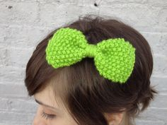 Lime green handknit bow by KnitPrayLove on Etsy, $10.00