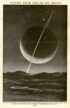 Saturn From One of Its Moons, 1930 astronomy space star chart print planets, solar system, universe, space illustration print.• good imagination ?