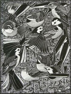Colin See-Paynton. Walk of Wagtails. (wood engraving)