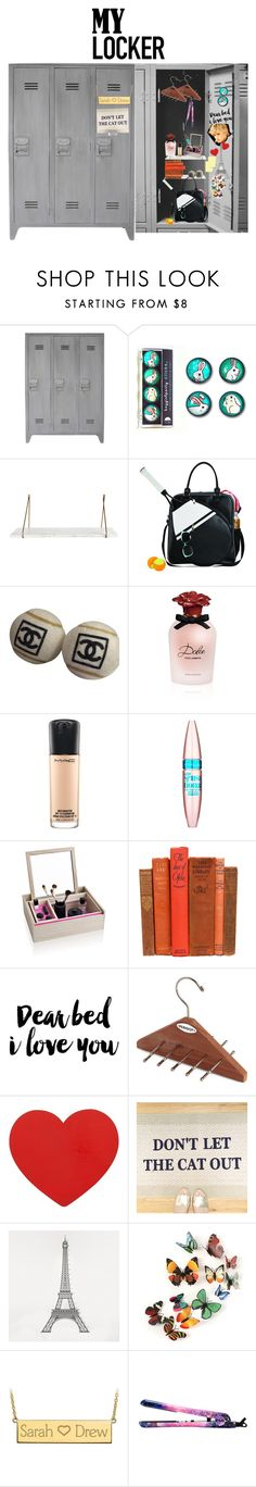 """""""My locker decoration - high school version"""" by firstcaratdiamond on Polyvore featuring Goodhope Bags, Chanel, Dolce&Gabbana, MAC Cosmetics, Maybelline, Nomess, PERIGOT, DOMESTIC, Post-It and Eva NYC"""