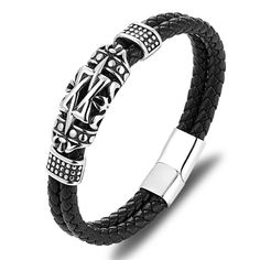 Item Type: BraceletsGender: UnisexClasp Type: Easy-hookMaterial: LeatherMetals Type: Stainless SteelChain Type: Genuine LeatherSize: Material : Stainless Steel/Genuine Leather *** Please allow days for delivery *** Cool Mens Bracelets, Fashion Bracelets, Beaded Bracelets, Leather Accessories, Jewelry Accessories, Hand Bracelet, Leather Chain, Jewelry Shop, Hand Jewelry