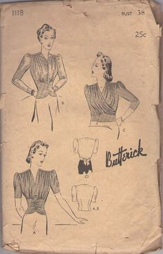 Butterick 1118 Vintage 40's Sewing Pattern DIVINE Ruched, Shirred, Draped Fitted Midriff Evening Cocktail Party Blouse Set #MOMSPatterns