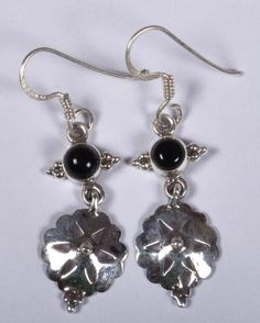 925 Solid Sterling Silver Earring Natural Black Onyx 2.00 Inches JSEA-61 #JaipurSilver