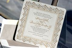 Calligraphed Claddagh letterpress wedding invitation by Bella Figura