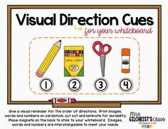 FREEBIE - Visual Direction Cues For Your Whiteboard - FREEBIE  Perfect for Back To School!!!