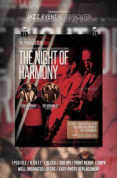 "Jazz Event Flyer / Poster Jazz Event flyer templates or poster template designed to promote any kind of music event, concert, festival, party or weekly event in a music club and other kind of special evenings. Features1 psd File Print Ready 8.5x11"" Bleed 300 dpi CMYKWell Organized Layers Easy to use Font usedSteelfish : http://dl.dafont.com/dl/?f=steelfish Nexa : http://f"