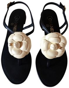 26214fa33f4 Black Cream Camellia Cc Ankle Strap Leather Sandals