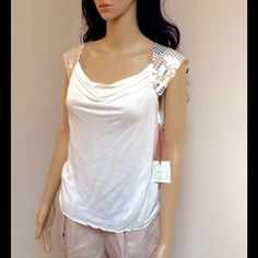 Beige gold sequin top Brand new beautiful beige top with gold sequin and pretty knot on back of shirt! Can match it with any color jeans, pants, or skirt! Body:100% Lyocell Sleeves: 100% Polyester Intuitions Tops