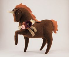 Items similar to One of a Kind Brown Woodland Unicorn with Flowers Plush - Felt Stuffed Animal, Soft Sculpture, Cute Pony on Etsy Plush Animals, Felt Animals, Stuffed Animals, Small Dog Toys, Waldorf Crafts, Cute Ponies, Animal Costumes, Miniature Crafts, Toy Craft
