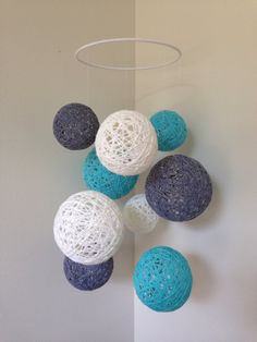 White grey and aqua yarn ball baby mobile by Backporchcrafts85