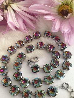 Swarovski crystal necklace - volcano - multi color - blue - red - reflections - designer inspired crystal necklace on Etsy, $66.00
