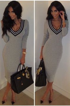Look casually sexy in this long V-neck heather grey dress. The dress features a black and white striped V-Neck with long sleeves, and a 3/4 length cut!
