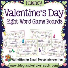 Sight Word Board Games for Valentine's Day -  Happy Valentine's Day! When you download this freebie you will receive nine sweet little candied sight word game boards. Each game board contains words from the Dolch sight word lists. This activity is great for your Valentine's Day centers or as an activity for small group instruction. 12 pages