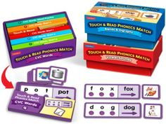 Touch & Read Phonics Match - Complete Set: With our engaging match-ups, children master CVC words, vowel sounds, and blends and digraphs—one phoneme at a time! Kids just select a word card and touch the textured dots as they say each sound. Then they read the full word—and find its matching picture card!