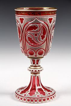 MOSER ART GLASS CHALICE - Rare Islamic Style Large Chalice, in white cut to cranberry glass with gold decoration. Unmarked, circa 1910.
