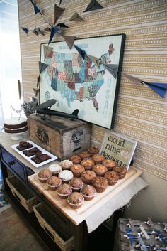 {A Vintage Travel Shower} featuring airplanes, boats, cars, and trains!
