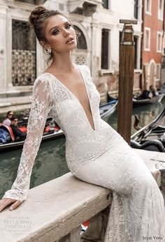 julie vino spring 2018 bridal long sleeves deep plunging v neck full embellishment lace elegant sexy fit and flare wedding dress open v back chapel train zv -- Julie Vino Spring 2018 Wedding Dresses Lace Wedding Dress With Sleeves, Fit And Flare Wedding Dress, Sexy Wedding Dresses, Long Sleeve Wedding, Bridal Dresses, Wedding Gowns, Wedding Day, Lace Sleeves, Trendy Wedding
