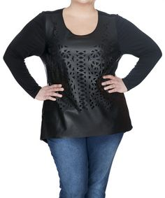 Another great find on #zulily! Black Perforated Long-Sleeve Top - Plus #zulilyfinds