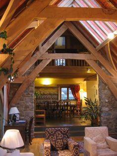 interior view of oak Sling brace truss'.