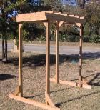 Pergola style arbor is free standing and sturdy