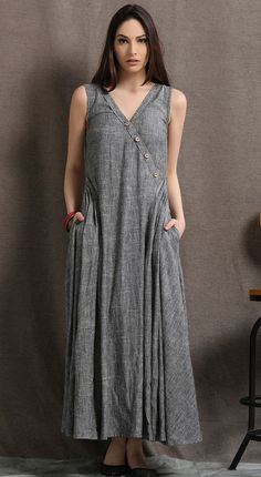 The long linen dress is made of linen blend, the linen dress is a sleeveless dress, the maxi linen dress is closed by side zipper. The sleeveless dress has pleated on two side waist, it is not a fit body dress, it is loose with the waist. Women's Dresses, Linen Dresses, Fashion Dresses, Fashion Clothes, Maxi Dress Summer, Summer Dresses For Women, Dress Long, Cotton Summer Dresses, Chiffon Maxi Dress