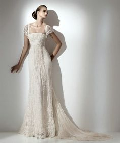 If I were...this is beautiful. Vintage Lace Wedding Gowns With Removable Cap Sleeves