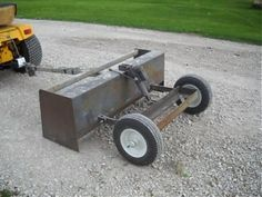 Box Scraper Homemade box scraper constructed from steel plate, angle iron, tubing, and wheels. Garden Tractor Attachments, Atv Attachments, Metal Projects, Welding Projects, Welding Ideas, Farm Tools, Garden Tools, Homemade Trailer, Tractor Accessories