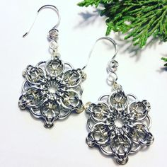 Silver Celtic Snowflake Earrings on Mercari Clear Crystal, Crystal Beads, Crystals, Tiny Rings, Chainmaille, Snowflakes, Celtic, Silver Plate, Silver Rings