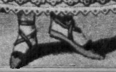 Detail of an 1812 fashion plate. The fashion plate's rendition of the standard slipper, additionally dressed up for dancing with a criss-cross lacing.