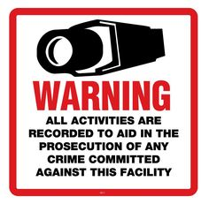 Warning Sign CCTV 10.5'' x 10.5'' Square