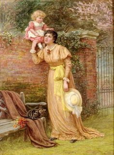Mother And Child Playing In The Garden.  Edith Martineau.  Motherhood