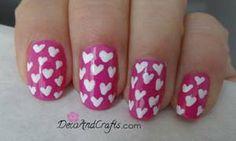 Uñas con corazones ideas San Valentin Paso a paso http://youtu.be/dDzChCBFLw8  Visita el dia el Blog www.decoandcrafts.com