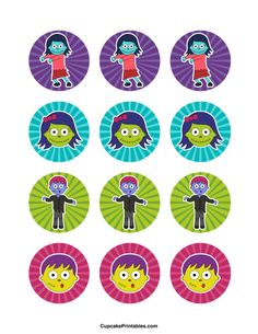 Free printable cupcake toppers in PDF format. Party Favor Tags, Party Favors, Zombie Cupcakes, Bottle Top Crafts, Bottle Cap Images, Chicago Cubs Logo, Cupcake Toppers, Free Printables, Cake Decorating