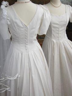 Laura Ashley Vintage Pale Cream Victorian Edwardian Style Wedding Dress Bridal Gown Uk