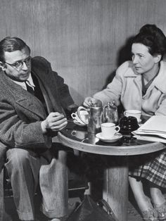 Philosopher Writer Jean Paul Sartre and Simone de Beauvoir Taking Tea Together
