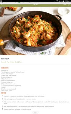 Paella Healthy Food Options, Healthy Diet Recipes, Clean Eating Recipes, Healthy Eating, Cooking Recipes, 28 By Sam Wood, Easy Weeknight Dinners, Seafood Recipes, Food Inspiration