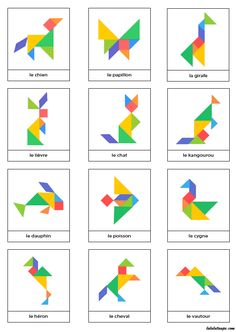 Free Animal Contours for Tangram Game Preschool Learning, Kindergarten Activities, Toddler Activities, Learning Activities, Teaching, Tangram Printable, Tangram Puzzles, Math Art, Math For Kids