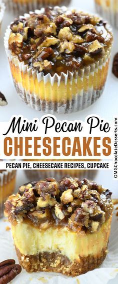Mini Pecan Pie Cheesecakes combines two of the best holiday desserts-cheesecake and pecan pie and pack them into one amazing treat. #pecan #pie #cheesecake #thanksgiving #dessert Great Desserts, Mini Desserts, Holiday Desserts, Delicious Desserts, Holiday Fun, Holiday Recipes, Holiday Ideas, Pecan Pie Cheesecake, Cheesecake Desserts