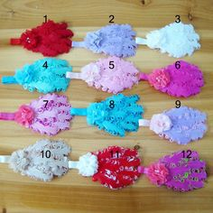 Hand sewing drill chiffon flowers Colorful Curly Feather Pads Headbands Baby Headband 100pcs/lot $170