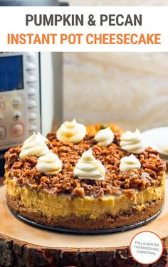 Can't decide between pumpkin cheesecake or pecan pie? Try this Instant Pot pumpkin cheesecake with pecan crust and topping for a decadent pressure cooker dessert that is perfect for Halloween, Thanksgiving, Christmas or any special occasion this fall and winter.