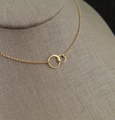 Tiny gold entwined rings necklace, linked circles, gold circles, simple gold necklace, interlocking circles, infinity, valentine day