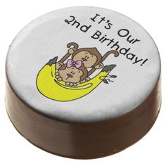 Monkey Twins 2nd Birthday dipped Oreos and Oreo pops, a sweet treat for the birthday child and the guests at the celebration, also makes a fantastic take home party favor! Features two adorable little monkeys, a boy and a girl, and a big yellow banana with kid style text that reads It's Our 2nd Birthday! #kids #birthdays #2nd #birthday #second #two #monkeys #money #2nd #birthday #twins #twin #boy #girl #sister #brother #twins #animals #cute