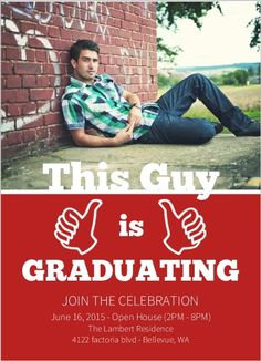 This Guy Funny Graduation Invitation by InviteShop.com. #graduationopenhouseideas #graduation #invitations