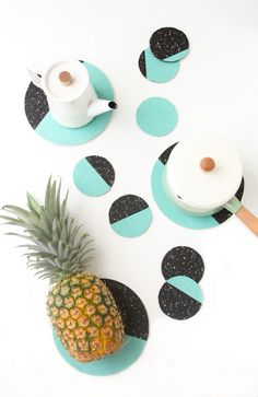 How to Make DIY Moon Phases Coasters and Trivets with Carpet Tile