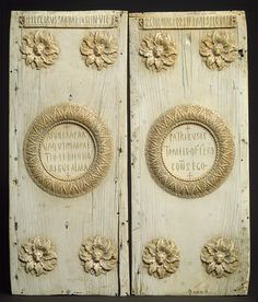 Two Panels of an Ivory Diptych Announcing the Consulship of Justinian [Byzantine] (17.190.52,53)   Justinian, who would be the greatest emperor of the Early Byzantine period, presented these handsome ivory panels to a member of the Roman Senate announcing his election as consul, once the highest rank in the Roman state and still one of great honorific importance.