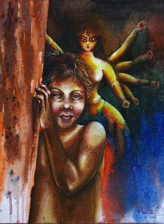 Durga Maa Paintings, Durga Painting, Indian Art Paintings, Watercolor Art Face, Watercolor Paintings, Drawing Competition, Temple India, Mata Rani, Shiva Lord Wallpapers