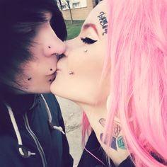 #love #mylove #scene #scenestyle #tattoo #piercing #plugs #kiss